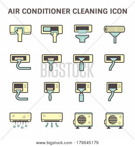 Air conditioner air compressor and air filter cleaning vector icon set design.