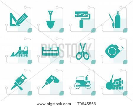Stylized building and construction icons - vector icon set 2