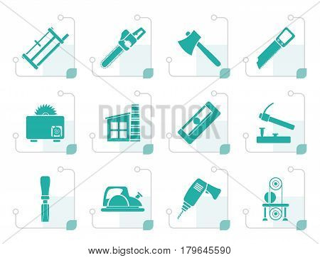 Stylized Woodworking industry and Woodworking tools icons - vector icon set