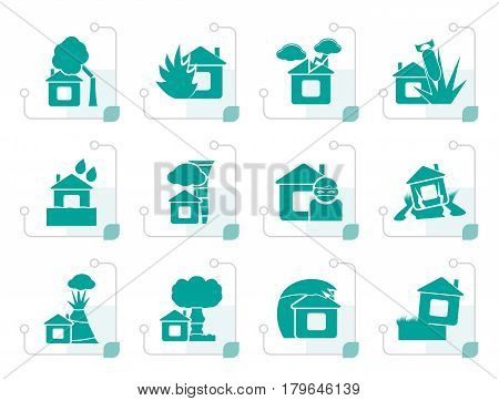 Stylized home and house insurance and risk icons - vector icon set