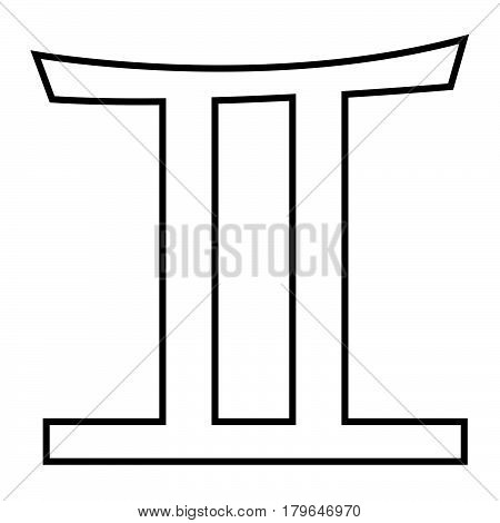 Thin Line Gemini Sign Icon
