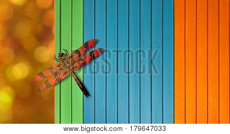 Colorful dragonfly over blurred orange background and timber fence
