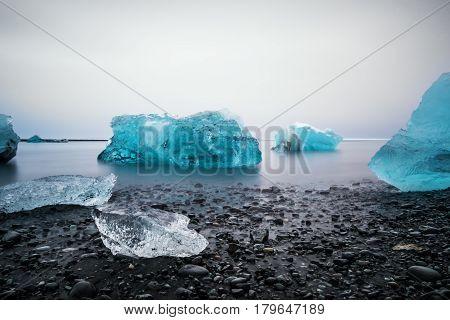Ice Beach at Jokulsarlon glacier lagoon in Iceland
