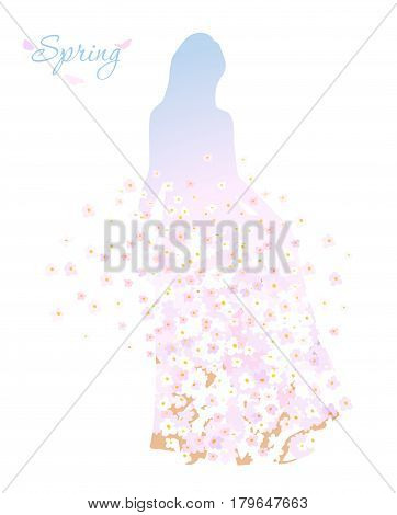 Spring female silhouette with blooming flowers on white background
