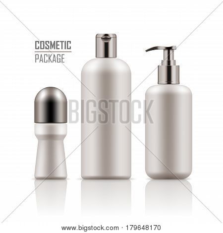 Set of empty realistic package for cosmetic product. Collection of blank template of plastic containers: deodorant, shampoo, body cream bottle with pump. Vector mockup of isolated on white background.