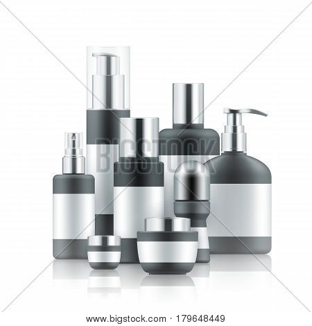 Vector illustration with set of realistic package for cosmetic product. Blank templates of jar, tube, bottles and deodorant. Mock-up of empty black and silver plastic containers on white