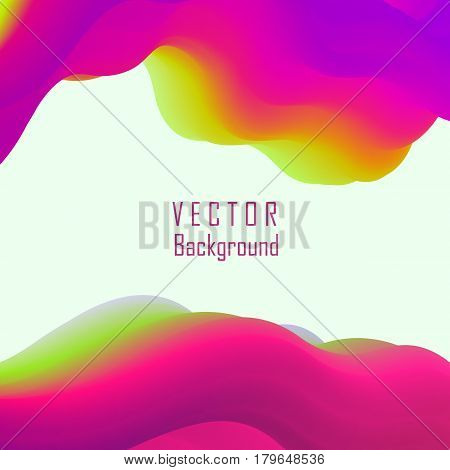 Trendy vector banner template with fluid abstract background. Colorful liquid paint splashes. Liquid magic and futuristic art. Flowing wave shapes - design for poster, cover, flyer, card.