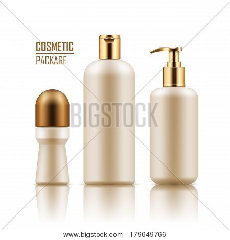 Set of empty realistic package for cosmetic product . Collection of blank template of plastic containers with gold caps: deodorant, shampoo, body cream bottle with pump. Vector mockup on white