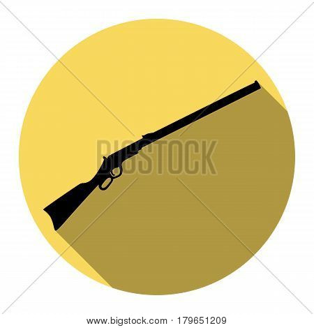 Hunting rifle icon vector illustration. Silhouette gun. Vector. Flat black icon with flat shadow on royal yellow circle with white background. Isolated.