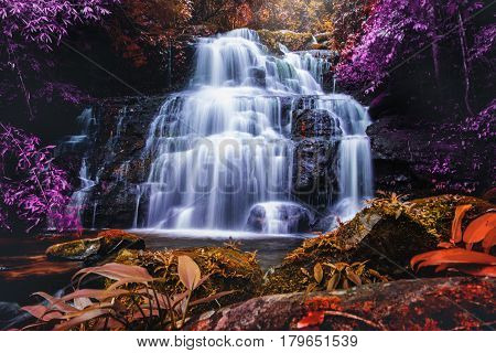 Natural background waterfall. waterfall Colorful leaves. waterfall thailand tropical