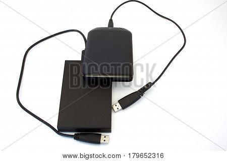 Two external hard disks on the white background. Data storage.