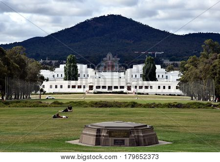 Canberra Australia - March 18 2017. The view of Old Parliament House the National War Memorial and Mt Ainslie from the front courtyard of Parliament House Canberra Australia.