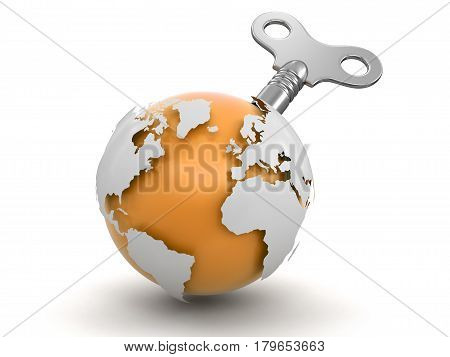 3D Illustration. 3d Globe  with winding key. Image with clipping path