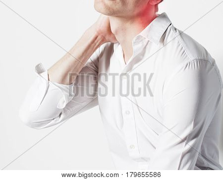 portrait of body part businessman isolated on white background pain killers holding neck hurts, modern real business concept close up