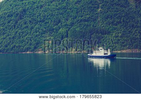 Ferry Boat Ship On Fjord In Norway