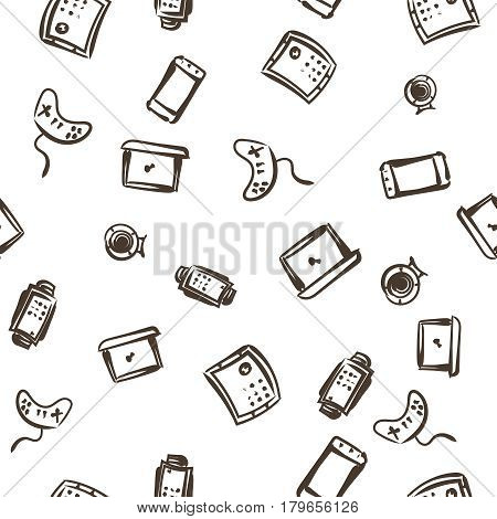 vector seamless pattern with computer icons for design