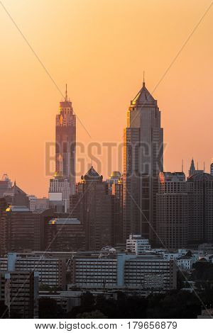 Aerial view of modern high rise buildings condominium at business area in big city downtownBangkok Thailand