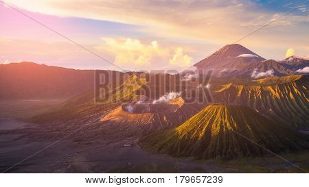 Mount Bromo Volcano (gunung Bromo) During Sunrise From Viewpoint On Mount Penanjakan. Mount Bromo Lo