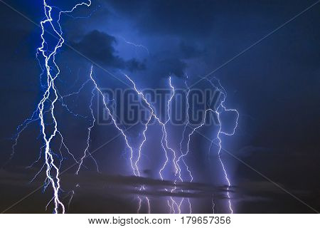 Thunder Storm Lightning Strike On The Dark Cloudy Sky Background At Night