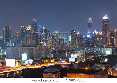Modern Office Buildings, Condominium In Big City Downtown With Expressway The Infrastructure For Tra