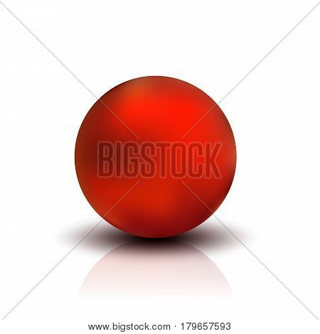 Metallic sphere, realistic vector illustration. Red dull metal ball with shadow and reflection isolated on white background