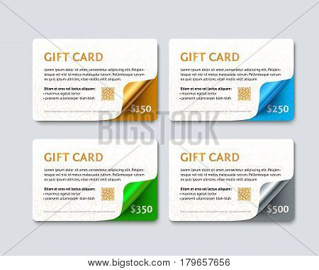 Set of gift discount cards with gold, silver, green and bluegeometric curved corners. Template mock up for gift card. Realistic vector paper