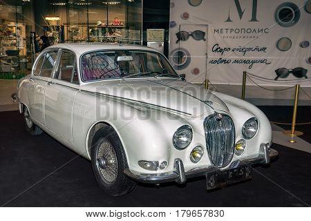 Moscow, Russia - April 02, 2017: White Jaguar S-type, 3,8 Litre, Great Britain 1965. Retro Car Exibi