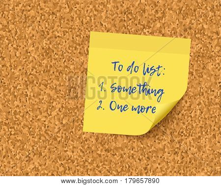 To do list on cork board background. Realistick vector post it paper with curl corner