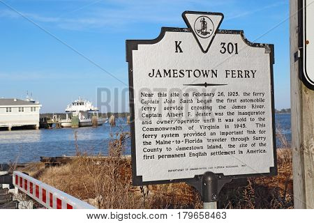 SCOTLAND VIRGINIA - FEBRUARY 20 2017: Informational sign for the Jamestown-Scotland Ferry between Jamestown Island and Surrey County. This historic car ferry has been in operation since 1925.