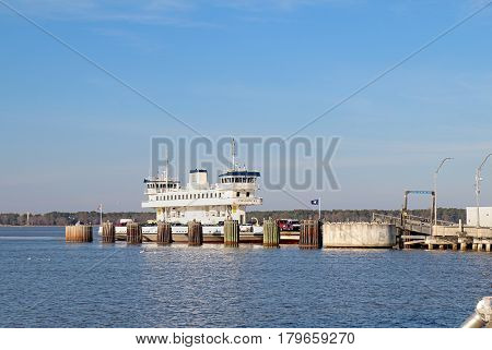 SCOTLAND VIRGINIA - FEBRUARY 20 2017: Ferry boat Pocahontas at the Jamestown-Scotland Ferry which runs between Jamestown Island and Surrey. This historic car ferry has been in operation since 1925.