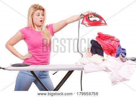 Shocked Woman Holding Iron About To Do Ironing
