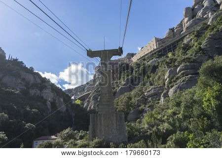 Cable way of the Montserrat Monastery in Barcelona, Catalonia, Spain