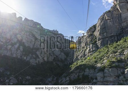 Cable car of the Montserrat Monastery in Barcelona, Catalonia, Spain