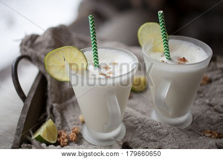 Lime milk shake for two