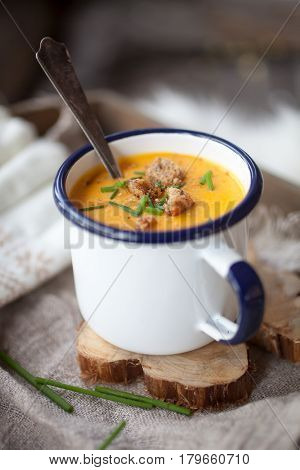 Sweet potato soup with croutons