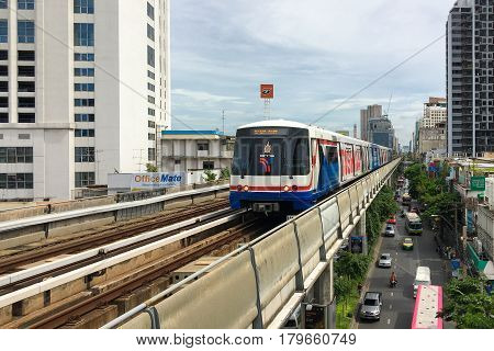 BANGKOK -JUL 26 : The Bangkok Mass Transit System (BTS) running to Mo Chit station on July 26 2016. BTS is an elevated rapid transit system in Bangkok Thailand