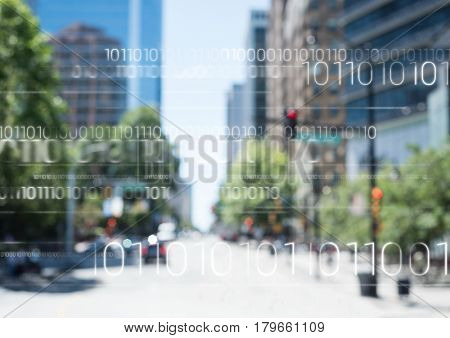 Digital composite of White binary code against blurry street