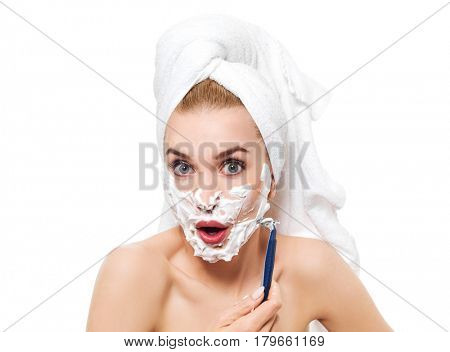 Young woman have morning shave