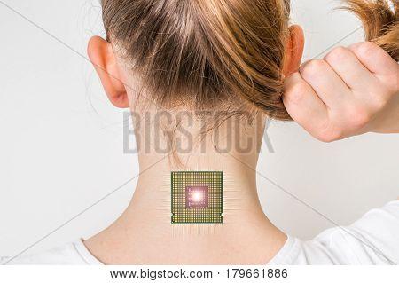 Bionic Microchip Inside Human Body - Cybernetics Concept