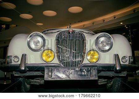 Moscow, Russia - April 02, 2017: Front Headlights And Grille Of A Restored White Jaguar S-type, 3,8