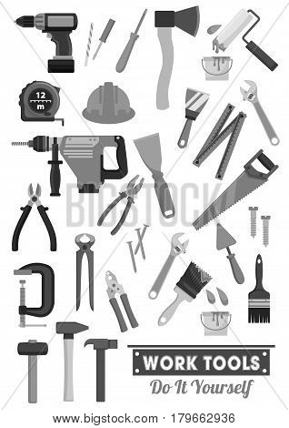 Work tools vector icons of tape measure ruler, helmet and drill, hammer and saw, wrench and screwdriver or screws, plaster trowel and paint brush, carpentry plane, mallet and pliers poster