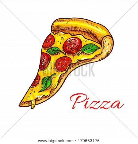 Pizza slice vector icon of fast food or italian pizzeria cuisine. Piece of margherita, napoletana or capricciosa and marinara with mozzarella cheese, pepperoni or salami sausage and oregano or basil