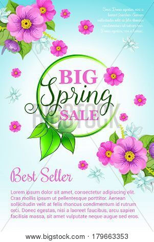 Big Spring Sale vector poster with floral design of blooming and blossoming pink flowers bouquet. Green spring nature template shopping discount and holiday online web store sales
