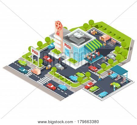 Vector isometric illustration of a modern Italian fast food restaurant with parking and gas station. Isometric pizzeria with a giant pizza sign, Italian cuisine