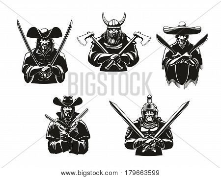 Warriors or soldiers icons of weapon ammunition. Vector ancient viking hatchet axes, filibuster musketeer pistols, mexican bandit machete sabers, western bandit guns, knight guard armor and swords