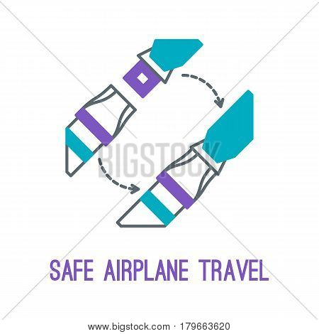 Concept of rules of airplane safety for banner design. Vector thin line icon of seat belt for safe travel isolated on white. Safe plane flight.
