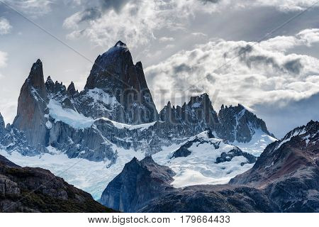 Mount Fitz Roy and its surrounding granite peaks in Patagonia region of Argentina, popular for hiking and trekking.