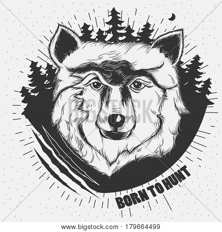 Vector hand-drawn illustration of a wolf head in black and white. Tattoo Design