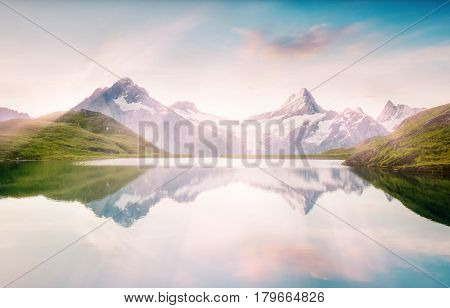 Breathtaking scene of the snowy rocky massif. Gorgeous day. Location place Bachalpsee in Swiss alps, Grindelwald, Bernese Oberland, Europe. Wonderful image of wallpaper. Explore the world's beauty.