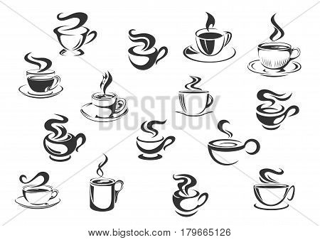 Coffee vector icons of vector espresso cup, cappuccino or moka mug, americano, ristretto or frappe, latte macchiato or hot chocolate drink. Isolated emblems set for cafe menu, cafeteria or coffeehouse